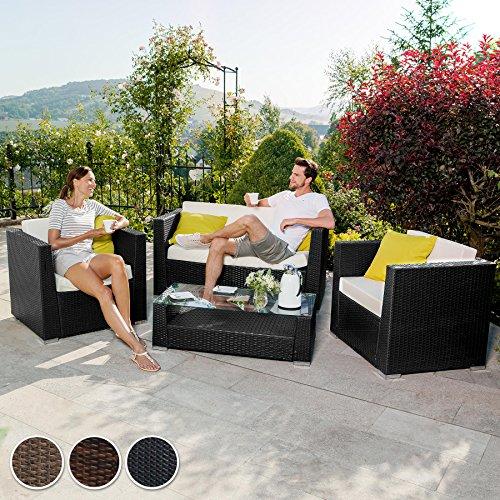 TecTake® Hochwertige Aluminium Luxus Lounge Poly-Rattan Sitzgruppe Sofa Rattanmöbel Gartenmöbel schwarz mit 2 Bezugsets und 4 extra Kissen mit Edelstahlschrauben - 5