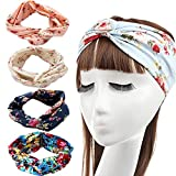 DRESHOW 4 Pack Bandeaux de fleurs Vintage 1950 pour femmes Twist Elastic Turban Headband Head Wraps Cute Hair Band Accessories