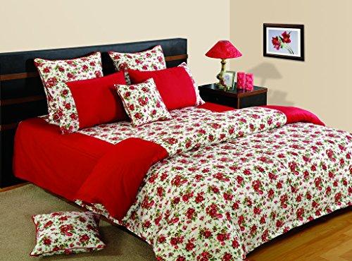 Yuga 8 Stück im Beutel gesetzt rote Rosen bedruckten Baumwollstoff-Bettwäsche-Satz Bett (8 Stück-bett-satz)