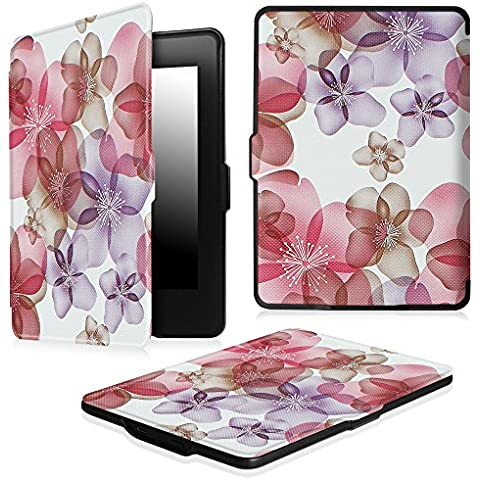 Fintie Funda Protectora para Kindle Paperwhite - Ultra Slim Ligera Shell Funda Carcasa con Auto-Sueño / Estela Función para Amazon All-New Kindle Paperwhite (2015 300 ppp 3ra Generación / 2014 / 2013 / 2012), Floral Purple