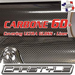 carstyle Carbone 6D+ Film Vinyle Covering thermoformable Bubble Free Noir 1m x1,52m, Pas 3D 4d 5d