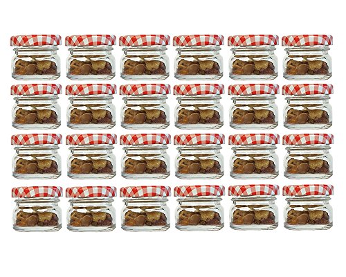 30 Ml Glas (30er Set Sturzgläser Mini Gläser | Füllmenge 30 ml | Deckelfarbe Rot Kariert | To 43 Rundgläser Marmeladengläser Obstgläser Einweckgläser Honig Gläser Einmachgläser Probiergläser Imker)