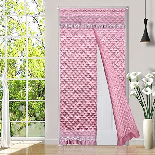 CUIS- Doppelseitige Baumwolle Vorhang mit Spitze, Kalter Windschutz Partition Vorhang, Schall Non-Fading warmen Winter Türvorhang, Thermisches Temporary-Tür-Abdeckung Multi-Size Optional - Pink