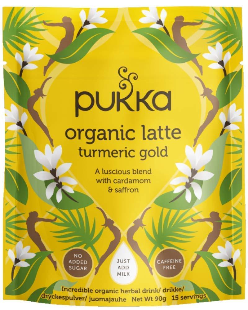 Pukka Turmeric range tea bundle (soil association) (infusions) (4 packs of 90g) (360g) (a spicy, vegetal tea with aromas of blue weber agave, cardamom, cinnamon, coconut, ginger, turmeric)