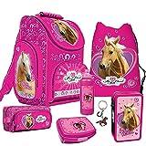 Pferde Pferd Horse Schulranzen Ranzen Schulranzenset Schulrucksack Set 7 teilig mit Schlüsselanhänger