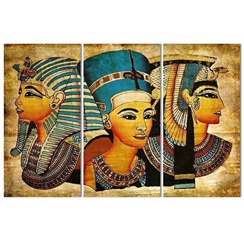 QJXX 3 Piezas Impresiones Cuadros en Lienzo Egipcio Diosas épicas, Sorpresa Arte Antiguo, Elegante Mujer Mural para decoración del hogar, Niña Lienzo Impreso,B,60x90cm*3