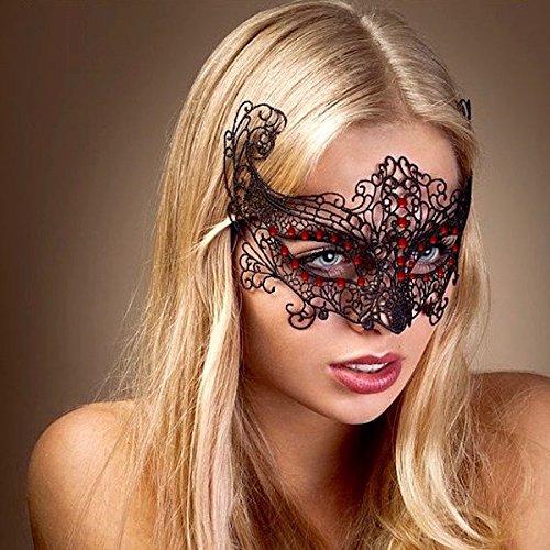 Rot kristall/Sexy Schwarz Spitze Maske Lady Mädchen Frauen Maske Concert Halloween Geburtstag Party Xmas Weihnachten Disguise Scary Kostüm Rollenspiel Handeln Fancy Kleid Dance Ball Ball Kleid Hohe Qualität Gif (Scary Halloween-masken Für Mädchen)