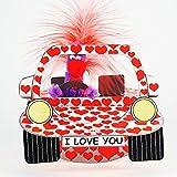 Valentinstag Pop Up 3D Geburtstag Liebe ZZ Design Grußkarte PopShot I Love You Herz Auto 16x16cm