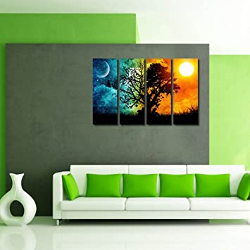 Superb 999Store Multiple Frames Wall For Living Room Wall Art Panels With Frame  Printed Tree Painting Framed: Amazon.in: Home U0026 Kitchen Part 20
