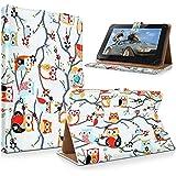 "art&cherry 7"" (7Zoll) Tablet / Tablet-PC Hülle Case - Fintie Ultradünne Smart Shell Cover Lightweight Schutzhülle Tasche Etui Eule im Baum (viele)"