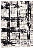 Teppich Modern Karriert Karo Abstrakt Muster Meliert in Weiss Schwarz - ÖKO TEX (250 x 350 cm)