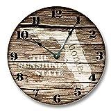 Monsety Rustikale Runde Wanduhr für Wohnzimmer-Dekor Florida State Homeland Clock The Sunshine State Kinderzimmer Holz Wanduhr für Schlafzimmer Decor 38 cm Kinderuhr