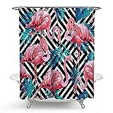kisy Tropical Pink Flamingo Wasserdicht Bad Duschvorhang BLUE PALM LEAVES Summer Holiday Badezimmer Dusche Vorhang Standard Größe 177,8x 177,8cm schwarz und weiß gestreift