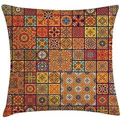 Funda de cojín marroquí, colección de patrones geométricos marroquíes florales ornamentales impresos, funda de almohada decorativa cuadrada, 45,7 x 45,7 cm, color naranja
