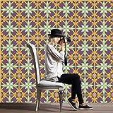 JY ART 20 stück Fliesenaufkleber für Küche und Bad (Tile Style Decals) | Rot und Gelb wandfliesen Aufkleber für 20x20cm Fliesen | Deko Fliesenfolie für Küche u. Bad HL075, 20 * 20cm