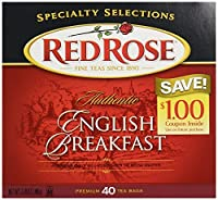 Red Rose English Breakfast Tea Bags - 2 Boxes, 40 Tea Bags Each Box