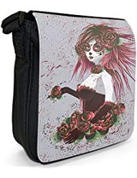 Women From Mexican Holiday Day Of Dead Small Black Canvas Shoulder Bag - Size Small
