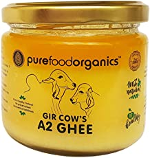 PureFoodOrganics Gir Cow's A2 Ghee - 250ml - Vedic Bilona Desi Cow Ghee (Traditional Hand-churned)