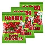 Haribo Happy Cherries, 3er Pack, Gummibärchen, Weingummi, Fruchtgummi, Im Beutel, Tüte