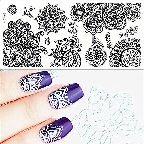 Born Pretty Plaque De Stamping Rectangulaire Fleurs BP-L014 12.5 x 6.5cm