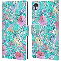 Official Micklyn Le Feuvre Pretty Pastel Hawaiian Florals Leather Book Wallet Case Cover For Sony Xperia Z5 / Z5 Dual