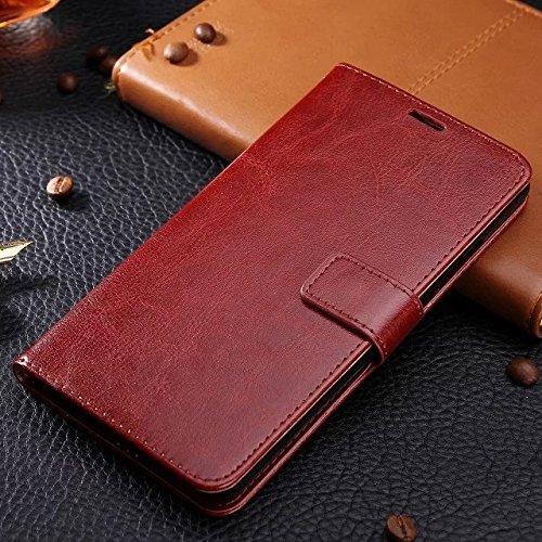 Wkae Case Cover caso Samsung J5, in pelle modello di colore caso di stile del raccoglitore solido disegno magnetico Flip Folio copertura dellunità di elaborazione della copertura della cassa standup  Brown