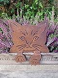 Manufaktur-Lichtbogen Edelrost Katze mit Pfoten zum aufstecken - Zaunhocker - Rost Gartendeko