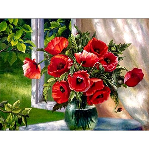 New 5D DIY Handmade Peony Flowers Design Round Diamond Embroidery Painting Rhinestone Cross-Stitching Set Mosaic Home Room Decoration Best Gift 30 * 40 cm / 11.81 * 15.75 in