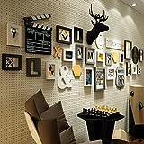 Nwn Foto Wand Foto Wand Moderne minimalistische Fotorahmen Wand Kombination Wohnzimmer Esszimmer Fotorahmen Foto Wand kreative Wanddekoration (Farbe : Black and White, größe : 16 Frames)