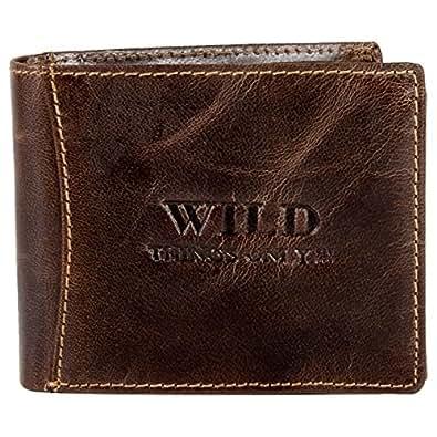 Herren Leder Geldbörse Portemonnaie Geldbeutel Wild Things Only (Braun)