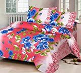 IWS Luxury Printed 120 TC Cotton Double Bedsheet with 2 Pillow Covers - Pink