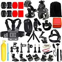 Iextreme Accessories for GoPro Hero 5 GoPro Hero 4 GoPro 3/2/1, Sport Action Camera Bundle for SJCAM Apeman A70/A80 AKASO EK7000, Head Strap/Selfie Stick/Chest Harness 45-in-1 Gopro Hero Accessory Kit