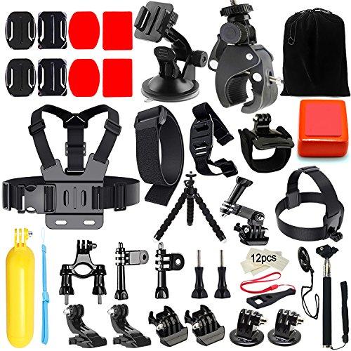 Accessoire pour Gopro, Iextreme Kit d'accessoires pour GoPro Hero 5 4 3+ 3 2 1 , SJCAM SJ4000 5000 6000 7000 Xiaomi Yi Apeman ODRVM Lightdow Campark WiMiUS IceFox QUMOX - Vélo Pince + Poitrine Sangle + Poignet Sangle Mont