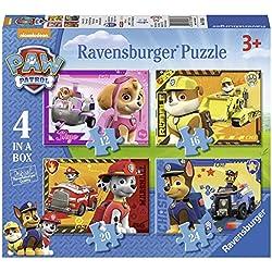 Ravensburger - Paw Patrol - 4 Puzzles de la Pat Patrouille - 12, 16, 20, 24 Pièces - 14x19 cm