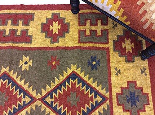 Tribal Geometrische rot gelb kaukasischen Design Nomaden-Hand Made 100% Wolle wendbar Kelim Teppiche Läufer, 100% Wolle, rot, Large 120x180cm - 4'x6' -