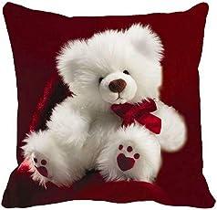 Ultra Angel Teddy Printed Cushion 12x12 Inches Red