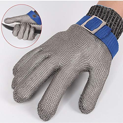 Cut-proof guanti in acciaio inossidabile di grado 5filo di acciaio plus pe anello in acciaio ferro guanti cut-proof metal macellazione riparazione del legno, grigio