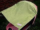 Sonnensegel UV-Schutz hellgrün weiße Streifen Baby Kinderwagen