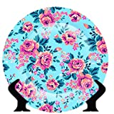#6: Zivasa Rare Handcrafted Blue/Pink Floral Design Ceramic Decorative Plate/Platter with Stand