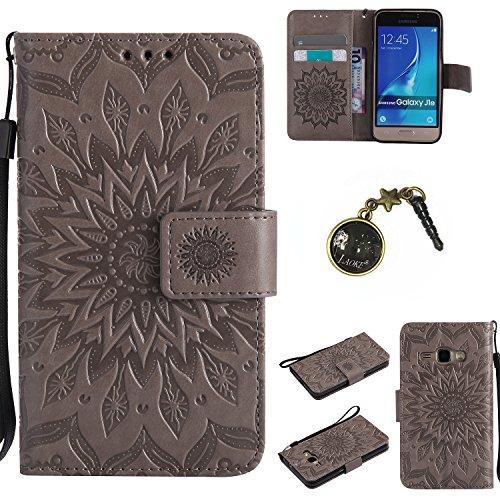 Preisvergleich Produktbild für Smartphone Samsung Galaxy J120 (4.5 zoll,J1 2016) SM-J120F Hülle, Klappetui Flip Cover Tasche Leder [Kartenfächer] Schutzhülle Lederbrieftasche Executive Design +Staubstecker (3FF)
