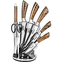 Velaze Kochmesserset, Profil Messerset, Rostfreier Edelstahl Messerset, Messerblock bestückt, Hochwertig und Extra Scharf Küchenmesser Set mit Ergonomischem Griff, 8-Teilings(Braun)
