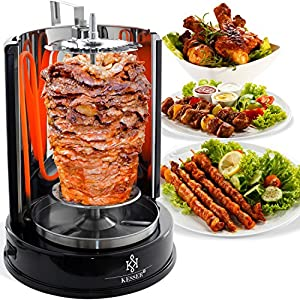 Kesser® Dönergrill 1400W Spießgrill Kebap Rotisserie Drehgrill Hähnchengrill mit Drehspieß Grill Gyros - Gyrosgrill Schaschlikspieße | Gleichmäßige 360°C Hitzeverteilung