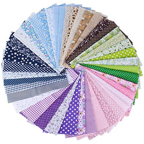 (100% Baumwolle) 42 Stück 6 Farbsystem Patchwork Stoffe 25 x 25 cm Bunte Baumwollstoff Set Stoffpaket DIY Baumwolltuch Stoffreste Paket Stoffpakete (Geldbörse Nähen Muster)
