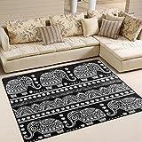 zzkko indischen Lotus Ethnic Elefant Bereich Teppich Teppich, Tribal Elefant Boden Teppich Matte für Schlafzimmer Living Wohnheim Zimmer Küche, multi, 5'x7'(150x200 cm)
