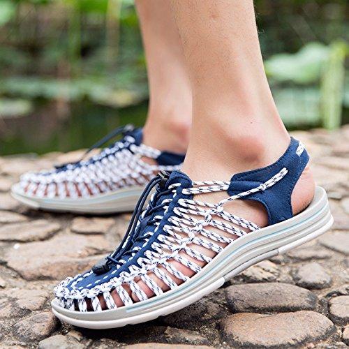 Xing Lin Chaussures DÉté Hommes Chaussures De Plage En Plein Air Sandales Trou Fait Main _ Chaussures Homme Extérieur Antidérapant Baotou blue