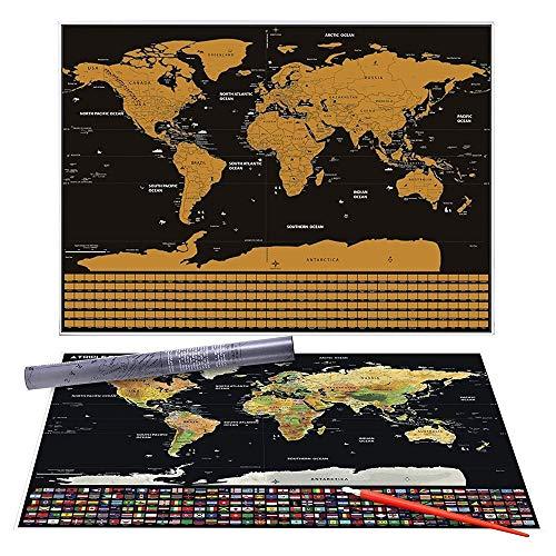 CHENG Póster Mapa Mundo rascar Capa lámina Dorada