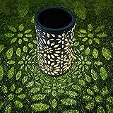 Lanterna Solare, Solari LED Lanterna da Giardino IP44 Impermeabile Metallo Luce Forma di Retro Cylindrical Chrysanthemum per Prato Percorso del Giardino Decorative