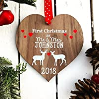 First Christmas as mr and mrs decoration bauble | personalised married wood tree for 1st wedding gifts keepsake for him or her