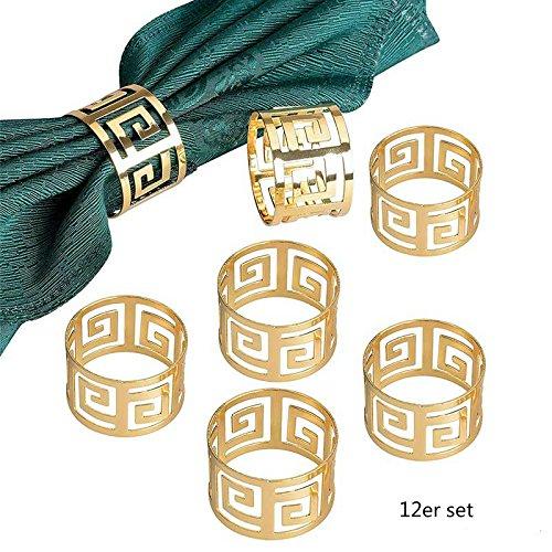 Yalulu 12 Stück Serviettenringe Servietten Halter Banquet Serviette Ring Dinner Hochzeits Weihnachten Dekoration Tischdeko (Gold) (Halter Serviette)