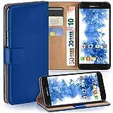 moex Samsung Galaxy S7 | Hülle Blau mit Karten-Fach 360° Book Klapp-Hülle Handytasche Kunst-Leder Handyhülle für Samsung Galaxy S7 Case Flip Cover Schutzhülle Tasche